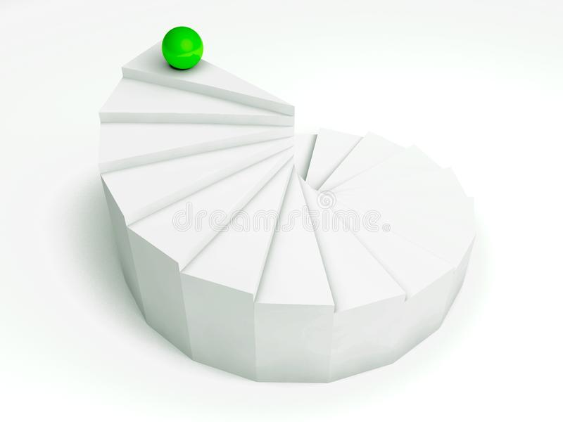Download Individuality 3d, Steps With Green Ball Stock Illustration - Image: 20978645