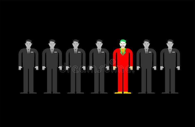 Individuality in gray crowd. Man in bright suit in group people. Contrasting individual concept stock illustration