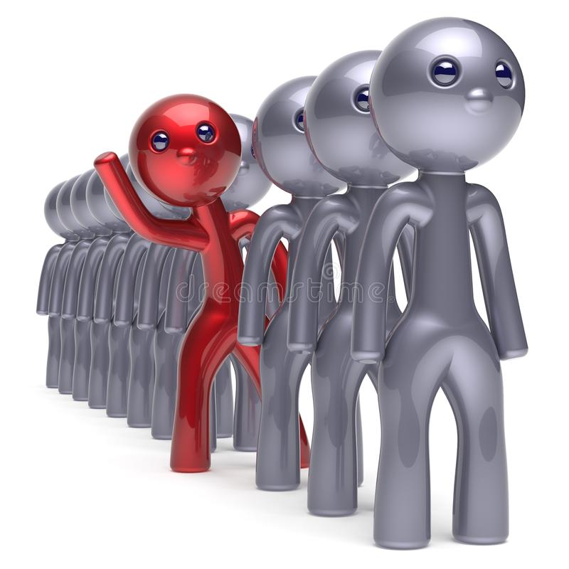 Individuality man character stand out from the crowd icon. Individuality man character stand out from the crowd men stylized different people unique red think vector illustration