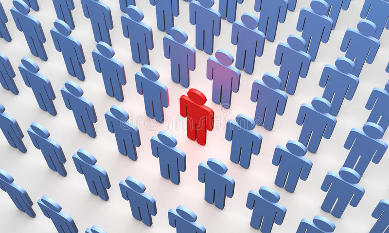 Individuality (symbolic figures of people). Standing Out from the Crowd. Available in high-resolution and several sizes to fit the needs of your project stock illustration