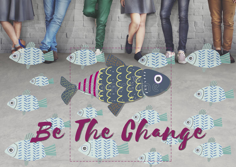 Individuality Unique Different Fish Graphic Concept royalty free stock images