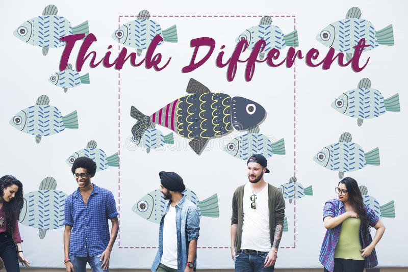 Individuality Unique Different Fish Graphic Concept royalty free stock photos