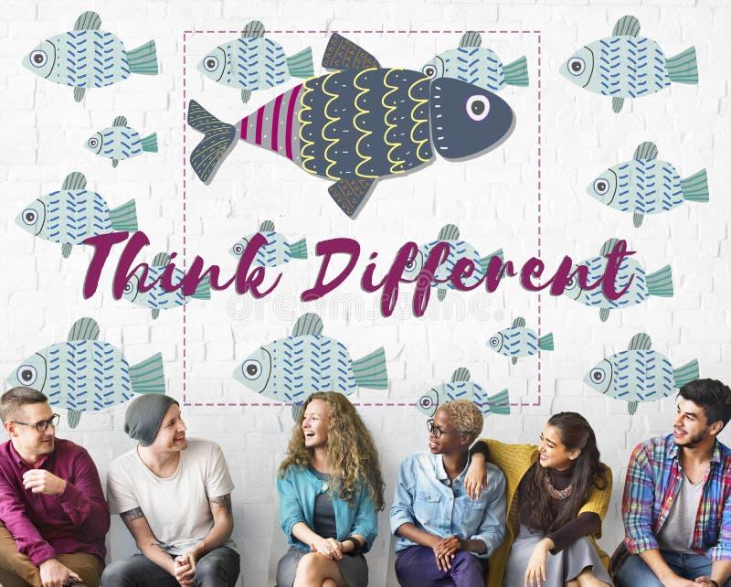 Individuality Unique Different Fish Graphic Concept stock photos