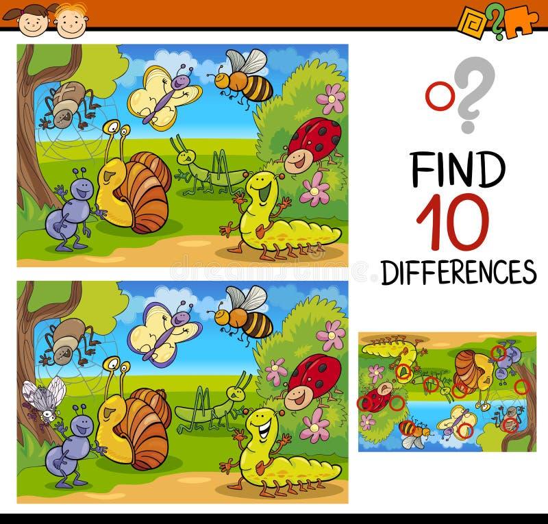 Individuazione del fumetto del gioco di differenze royalty illustrazione gratis