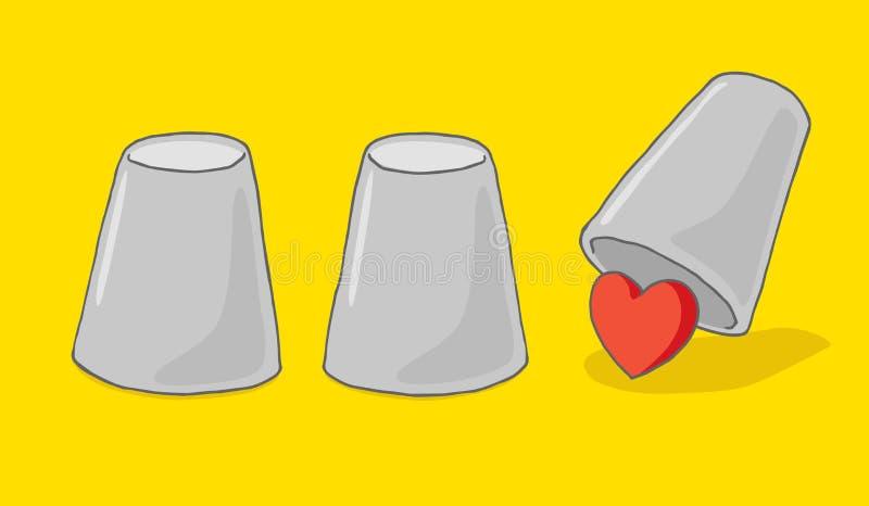 Individuazione dell'amore nell'ambito del gioco del cuore e della tazza illustrazione vettoriale