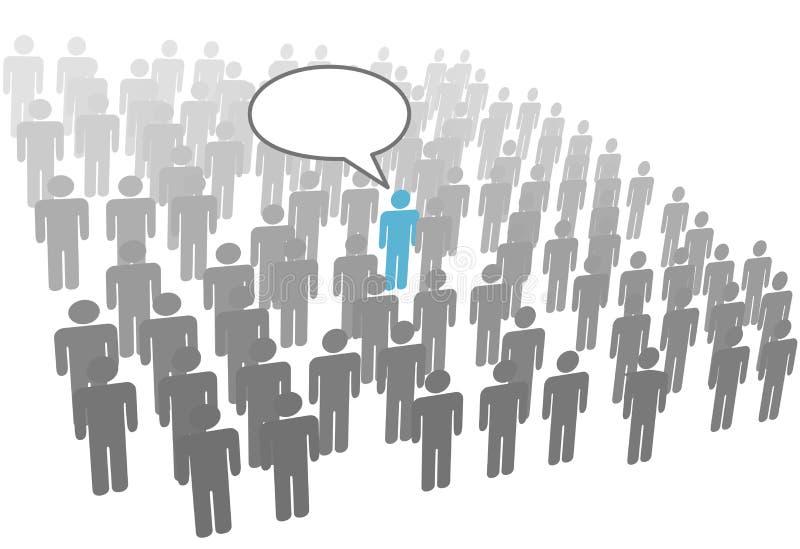 Individuele persoonstoespraak in menigte sociale groep vector illustratie
