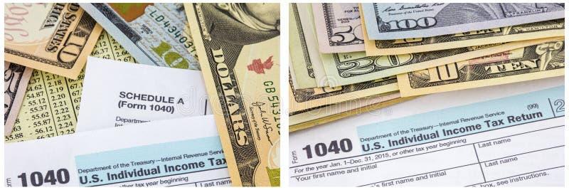 Individuell collage för pappers- pengar för skattbetalning 1040 fotografering för bildbyråer