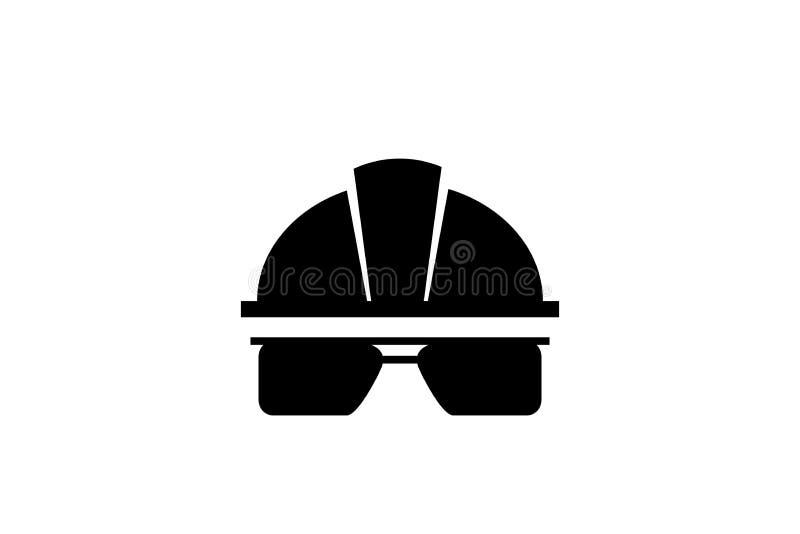 Individuellt skydd betyder Hjälmen hjälm, rullar med ögonen arbetarsäkerhetssymbol vektor arkivfoto