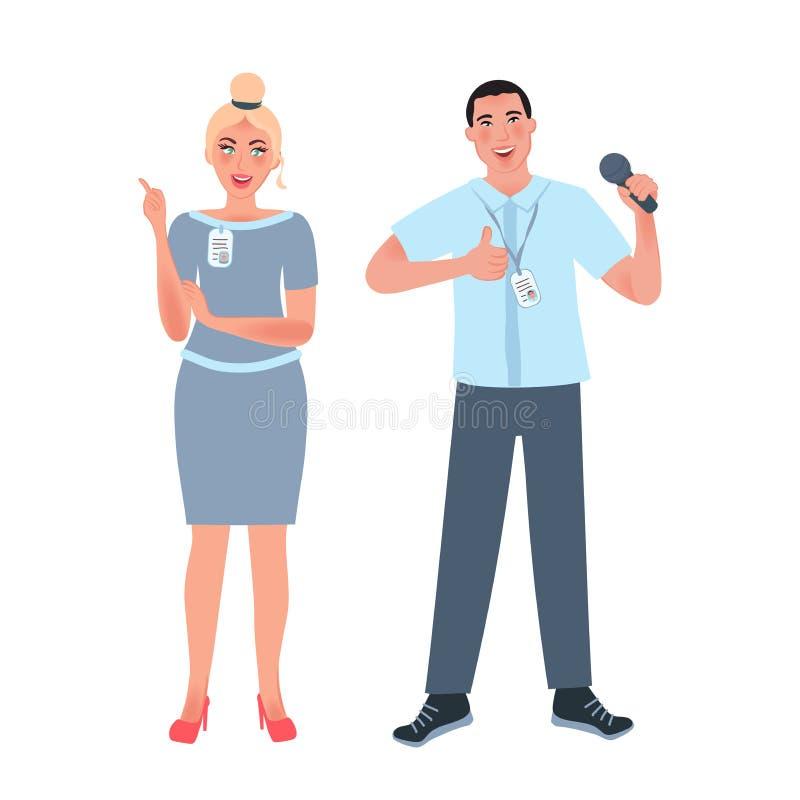 Individuo asiático con un micrófono y una muchacha europea en una conferencia o congreso Hombre de negocios acertado Ejemplo de stock de ilustración