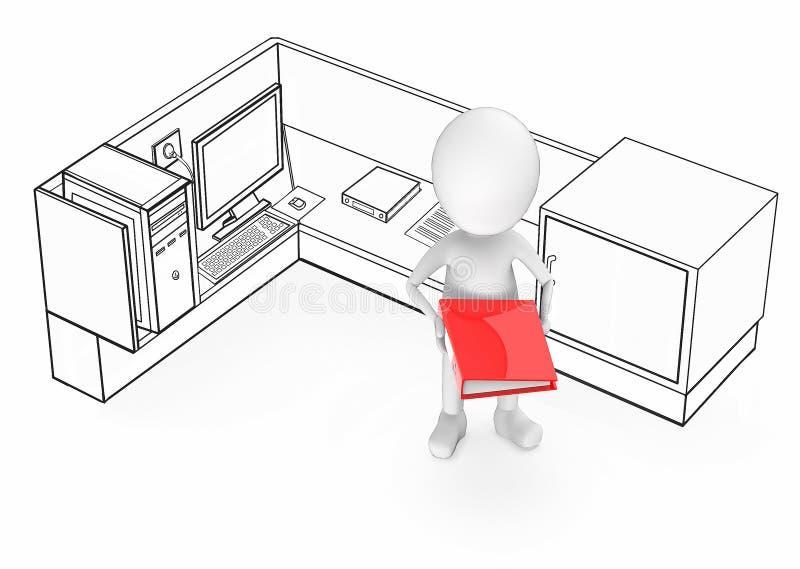 individuo blanco 3d que sostiene un fichero del color rojo en sus manos y que se coloca dentro de un cub?culo de la oficina libre illustration