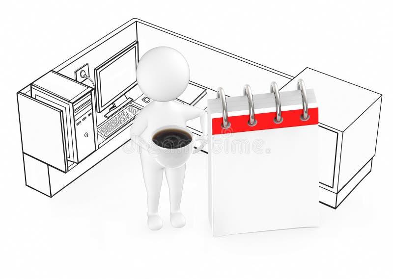 individuo blanco 3d que sostiene una taza con caf? y que se coloca al lado de un calendario vac?o dentro de un cub?culo de la ofi stock de ilustración