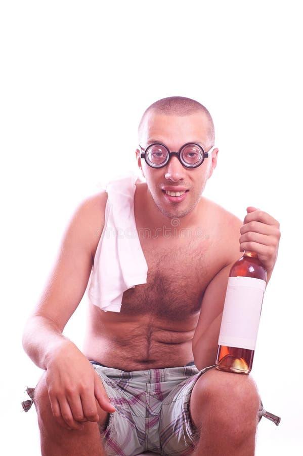 Individuo borracho del empollón en lentes fotografía de archivo libre de regalías