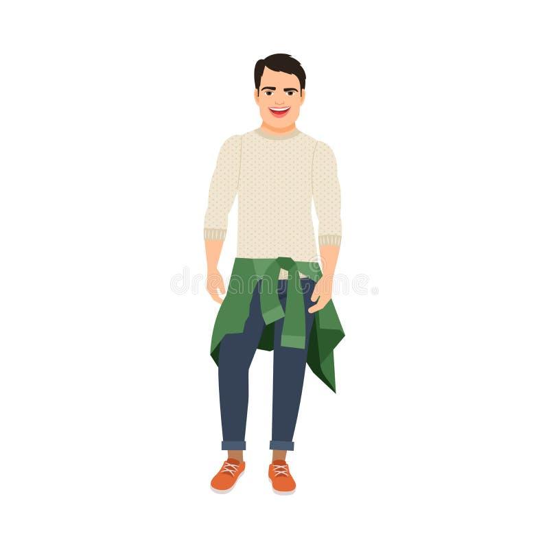 Individuo con el suéter en la cintura stock de ilustración