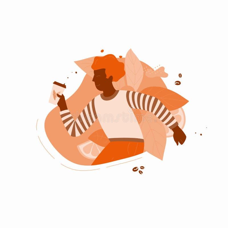 Individuo con la taza de café stock de ilustración