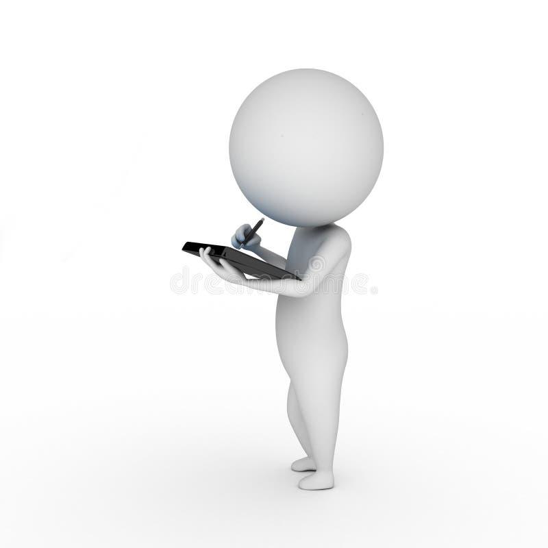 Individuo con una PC de la tablilla stock de ilustración
