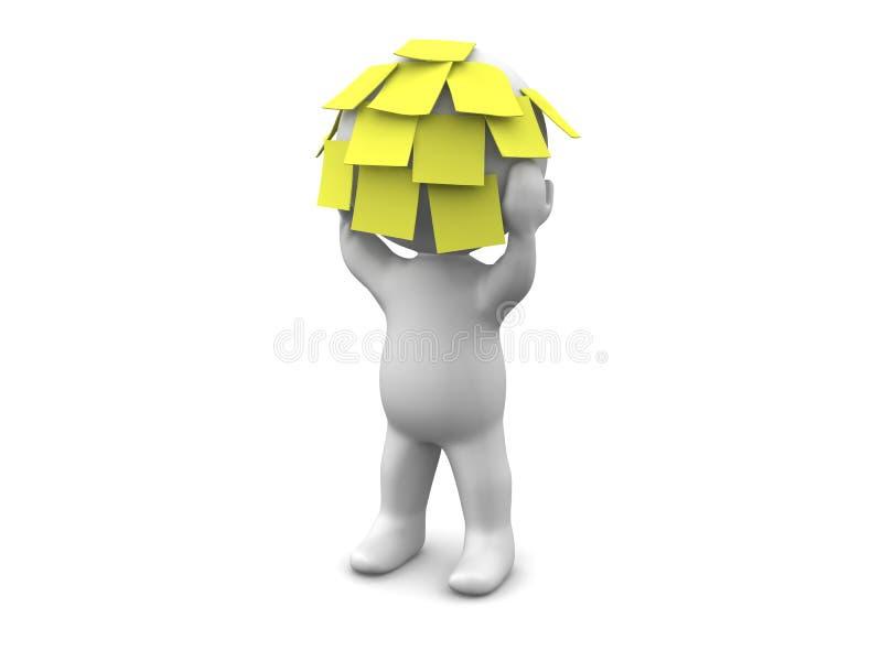 hombre 3D con muchas notas pegajosas sobre su cabeza stock de ilustración
