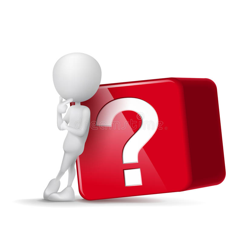 individuo 3d que piensa delante del cubo grande del signo de interrogación stock de ilustración
