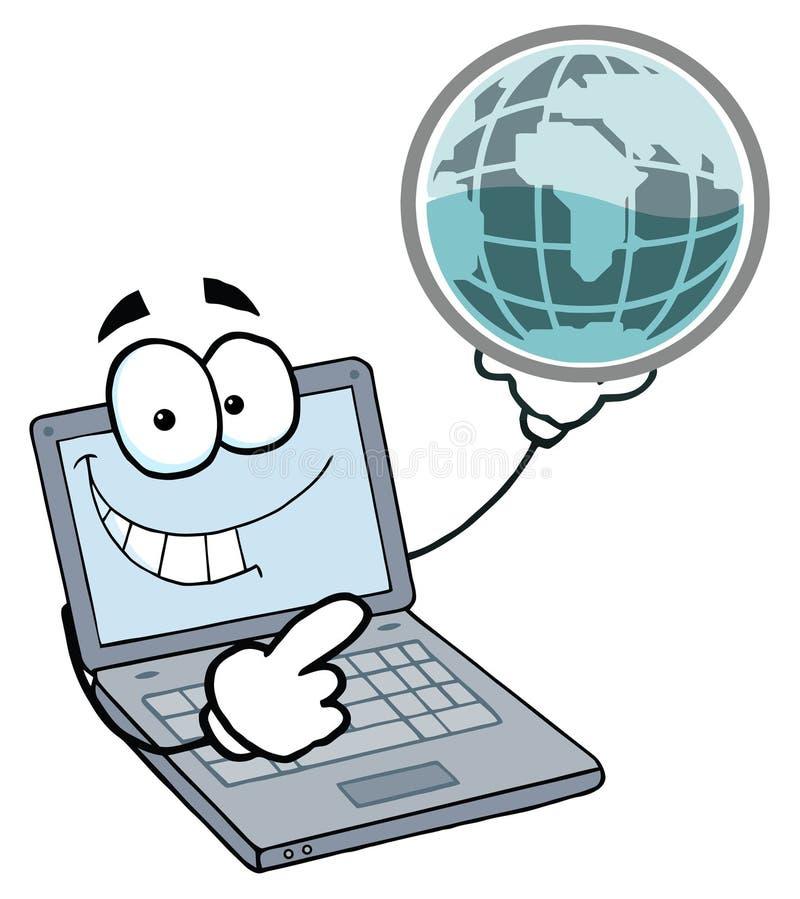 Individuo de la computadora portátil que sostiene un globo ilustración del vector