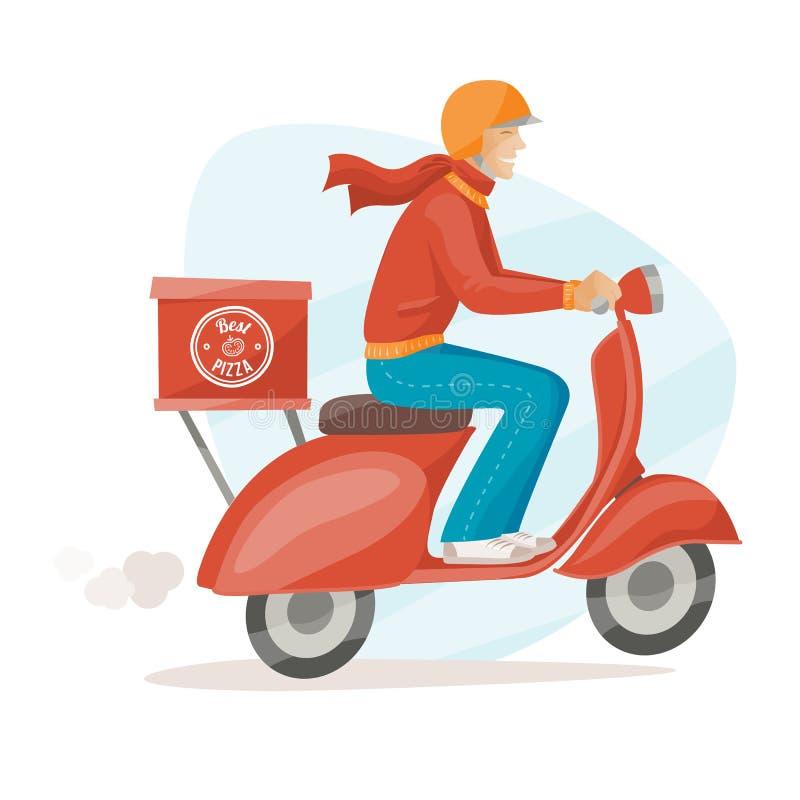 Individuo de la entrega de la pizza stock de ilustración