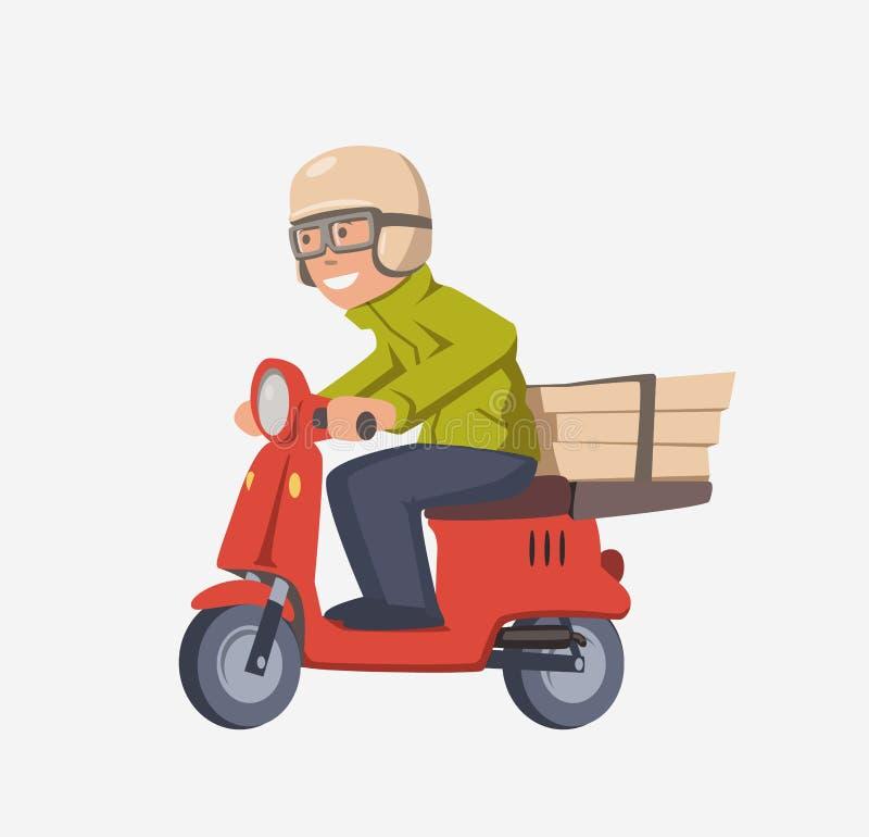Individuo de la entrega de la pizza en la vespa Mensajero sonriente con las cajas en la moto Personaje de dibujos animados aislad ilustración del vector
