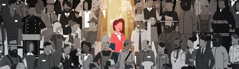 Individuo de la muchedumbre de Stand Out From del líder de la empresaria, grupo de la gente del candidato del reclutamiento del r stock de ilustración