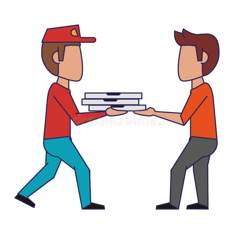 Individuo de la pizza que entrega a las l?neas azules del cliente libre illustration