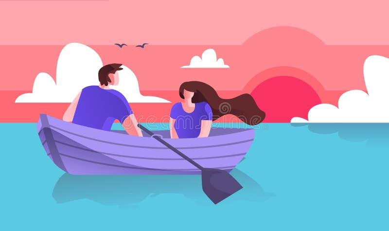 Individuo de los amantes con canotaje de la muchacha en plano de la historieta del mar stock de ilustración