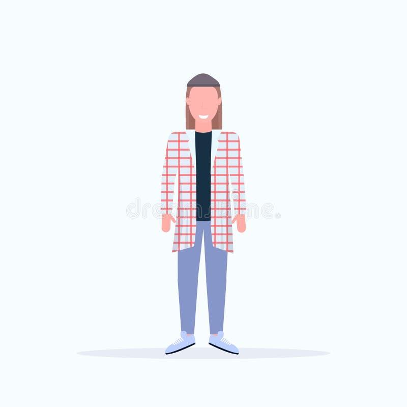 Individuo de pelo largo sonriente del hombre de la actitud casual feliz de la situación que lleva el plano integral del personaj ilustración del vector