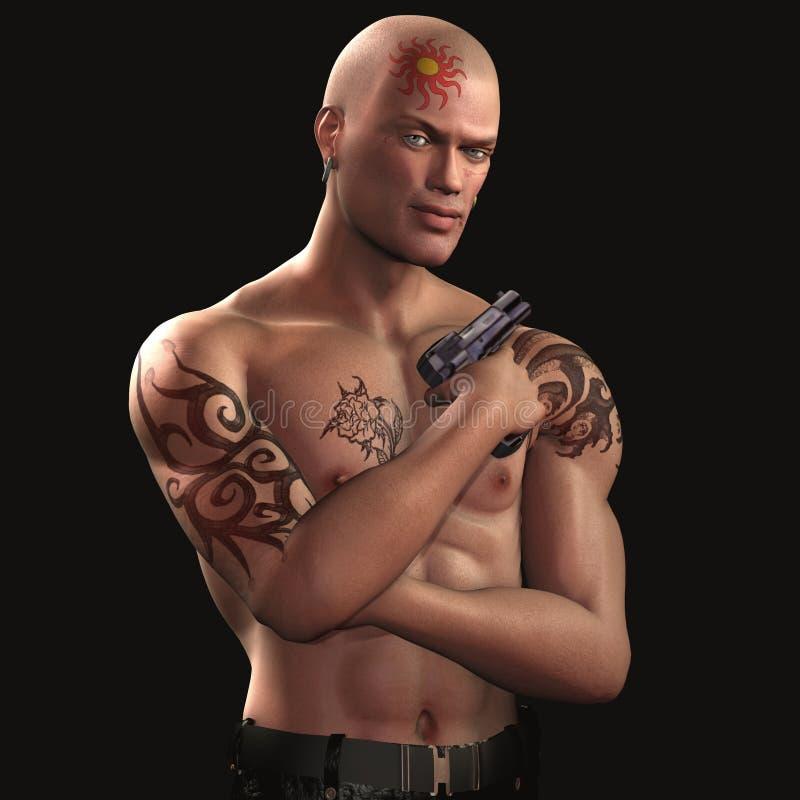 Individuo del tatuaje - RESPLANDOR - 03 ilustración del vector