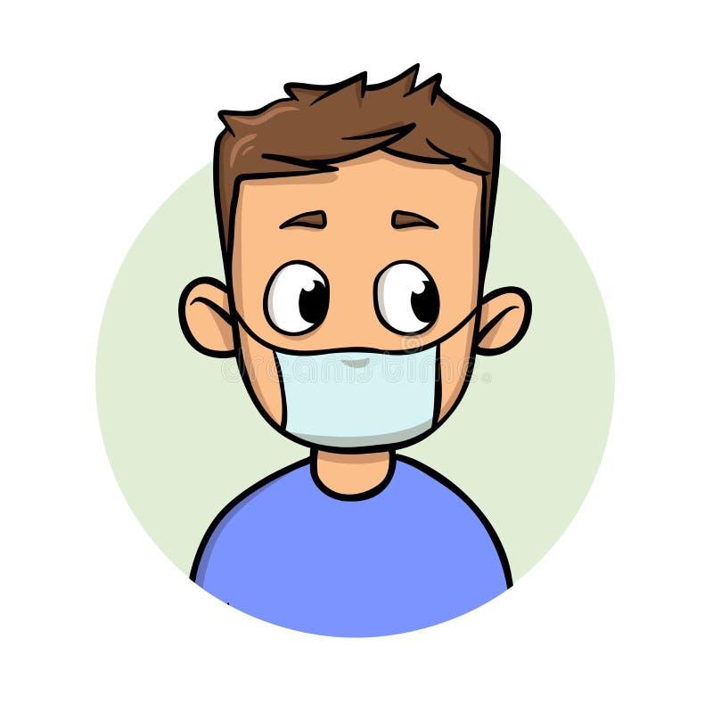 Individuo divertido de la historieta que lleva la máscara médica para la protección de la enfermedad respiratoria Icono del diseñ libre illustration