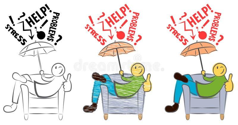 Individuo divertido que se sienta en una silla y que muestra los pulgares para arriba Protegen a la persona feliz contra falla An ilustración del vector