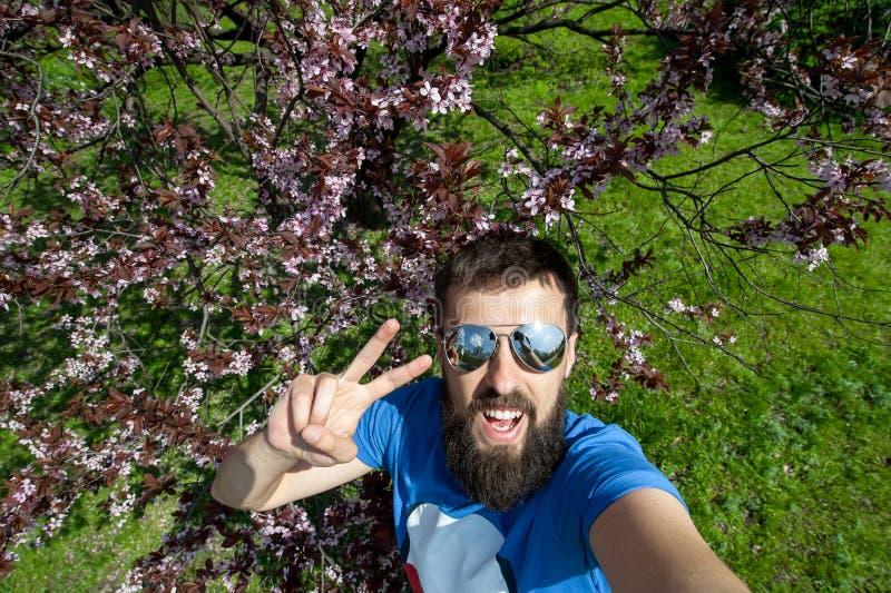 Individuo emocionado que hace el sefie con aire libre del gesto de la paz cerca de cerezo del bloossom fotos de archivo