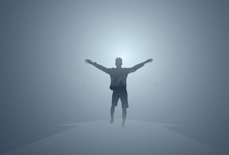 Individuo feliz aislado integral educado alegre de las manos del hombre negro de la silueta ilustración del vector
