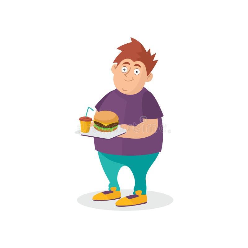 Individuo gordo joven que lleva a cabo la hamburguesa y la bebida dulce en la bandeja Apego de los alimentos de preparación rápid stock de ilustración