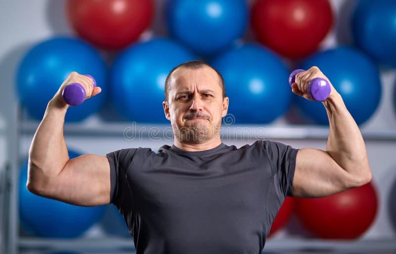 Individuo grande que lleva a cabo ridículo pequeñas pesas de gimnasia imágenes de archivo libres de regalías