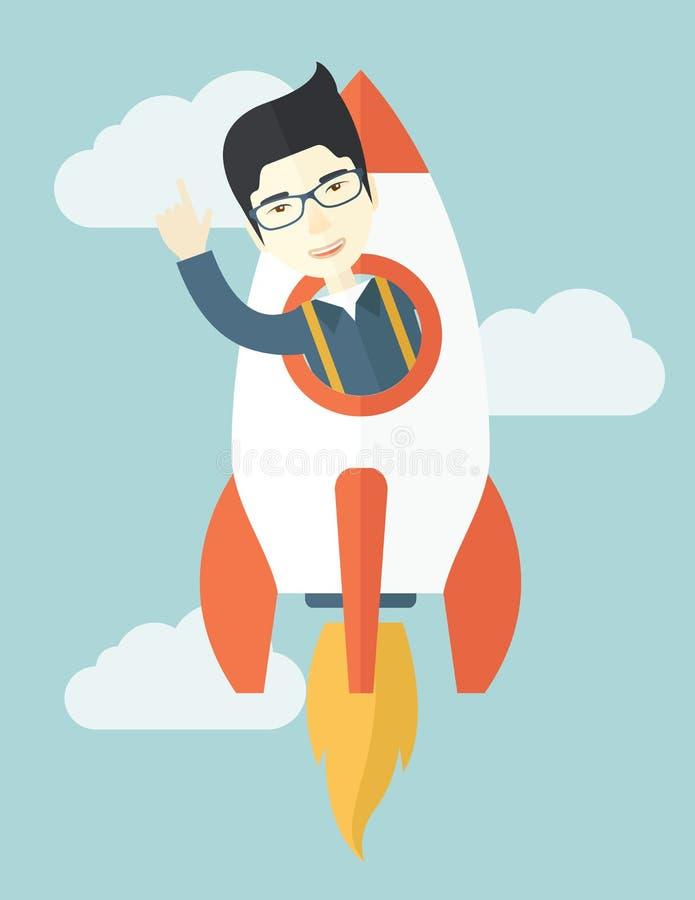 Individuo joven asiático dentro del cohete stock de ilustración