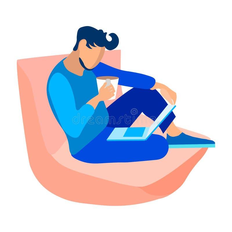 Individuo joven con el ordenador portátil, ejemplo del vector del café libre illustration