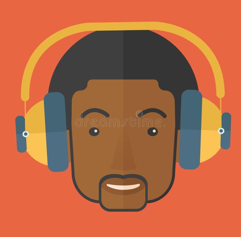 Individuo joven negro con el auricular ilustración del vector