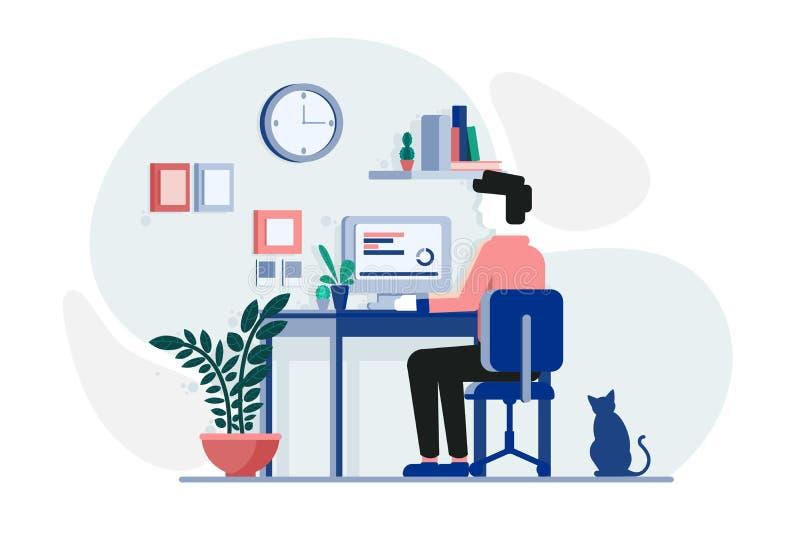Individuo joven que trabaja en el ordenador libre illustration