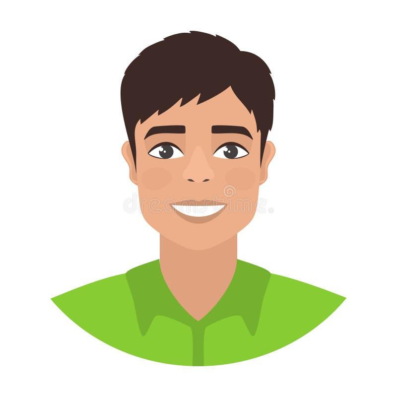 Individuo oscuro-cabelludo sonriente feliz con los ojos marrones en una camisa verde ilustración del vector