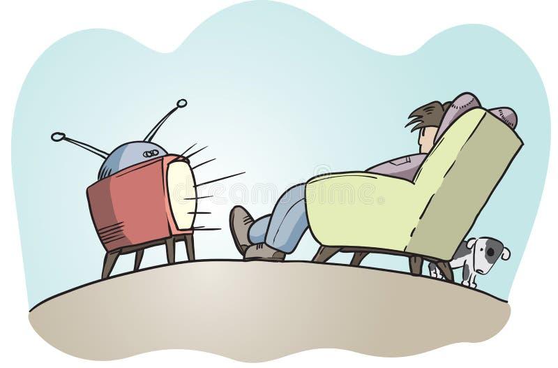 Individuo perezoso que ve la TV ilustración del vector