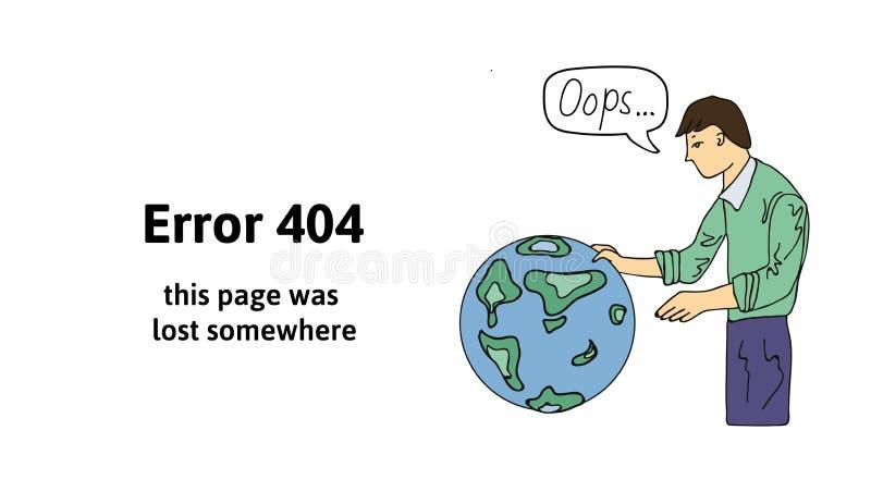 Individuo que mira el globo El mensaje de advertencia del texto esta página fue perdido en alguna parte Oops página de 404 errore stock de ilustración