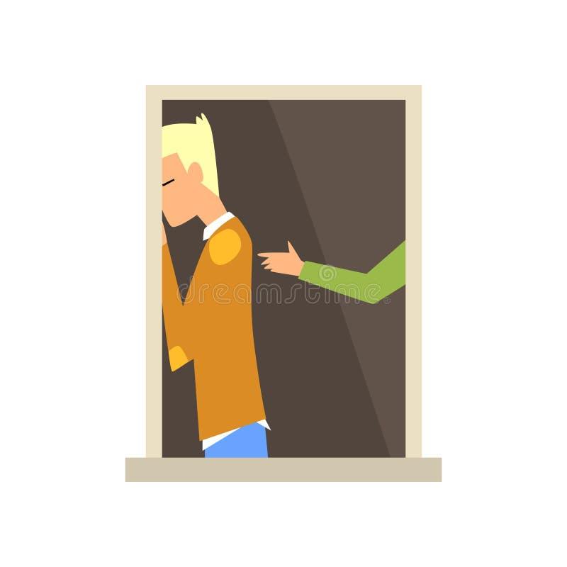 Individuo rubio triste que coloca la ventana cercana Mano humana que estira en hombre joven Drama de la familia Opinión sobre la  libre illustration