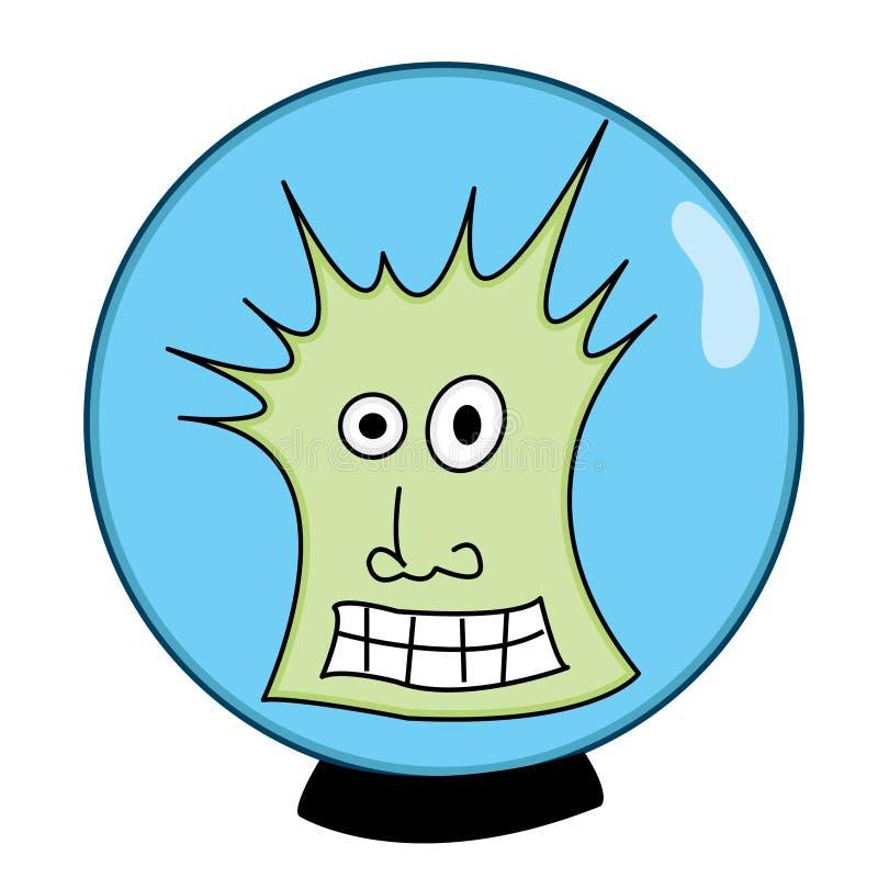 Individuo verde extraño en un casco de espacio ilustración del vector