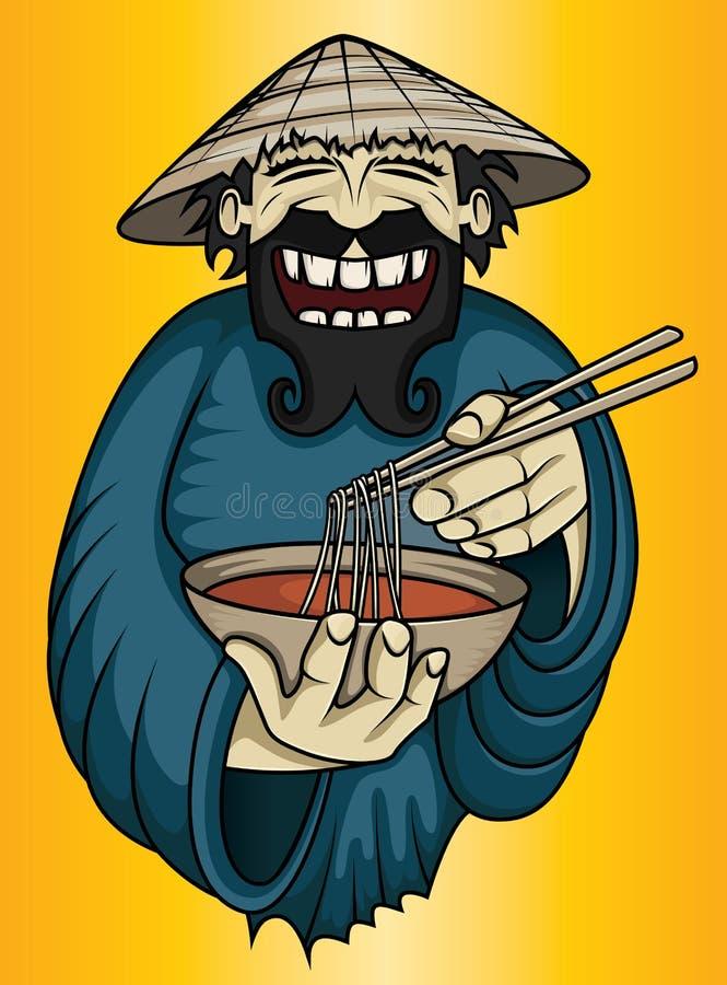 Individuo vietnamita sonriente que sirve la sopa deliciosa fresca del asiático de los tallarines ilustración del vector
