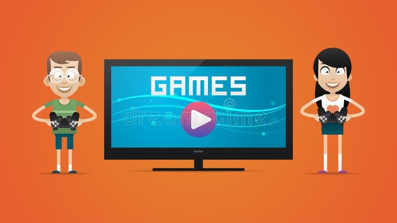 Individuo y muchacha que juegan a los videojuegos libre illustration