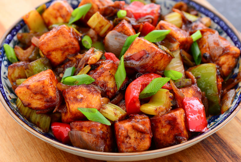 Indo-Chinese starter -Chilli Paneer. Indo-Chinese starter -Paneer Manchurian or Chilli Paneer,spiced cottage cheese cooked in fusion with Chinese soy and sweet royalty free stock photo
