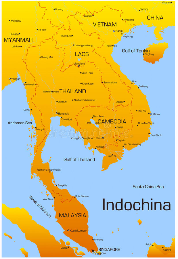 Indochina royalty-vrije illustratie