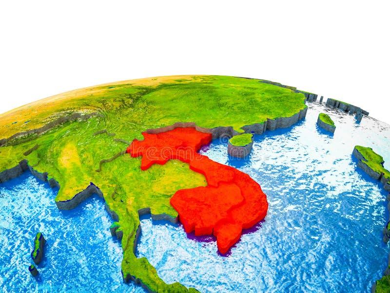 Indochina en la tierra 3D stock de ilustración