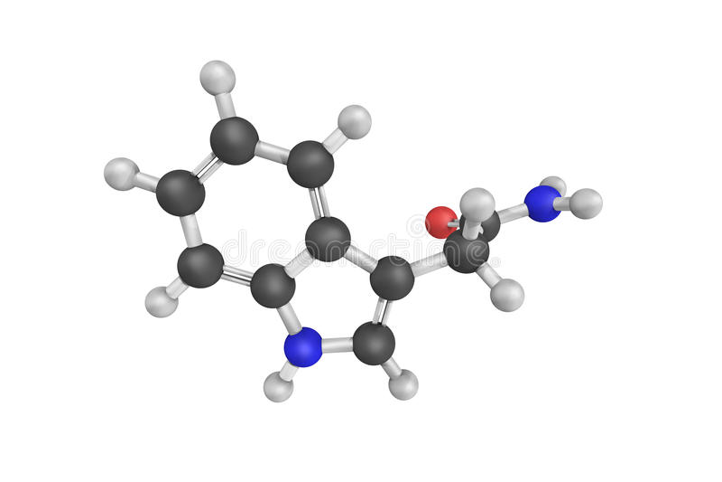 Indoleacetamide, een synthesereactant als 3-Indoleacet ook wordt bekend die royalty-vrije stock afbeeldingen